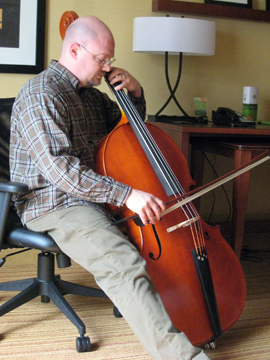 Paul Unger tries out the chamber bass